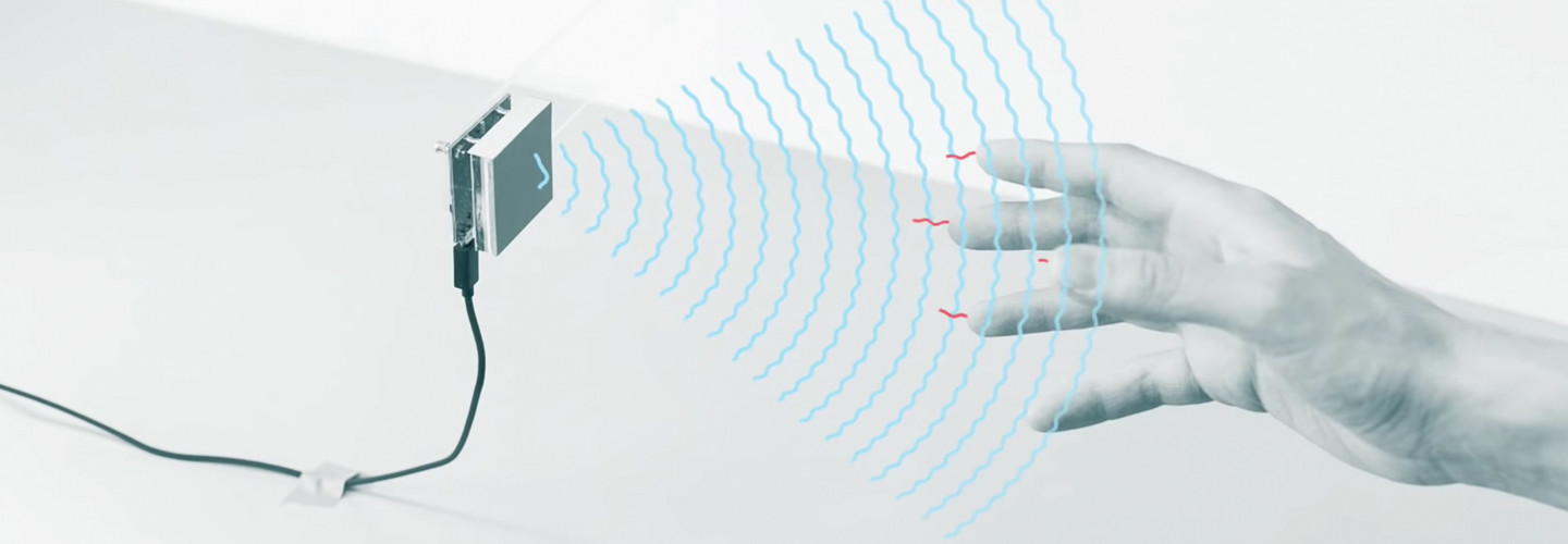 Person interacting with gesture technology