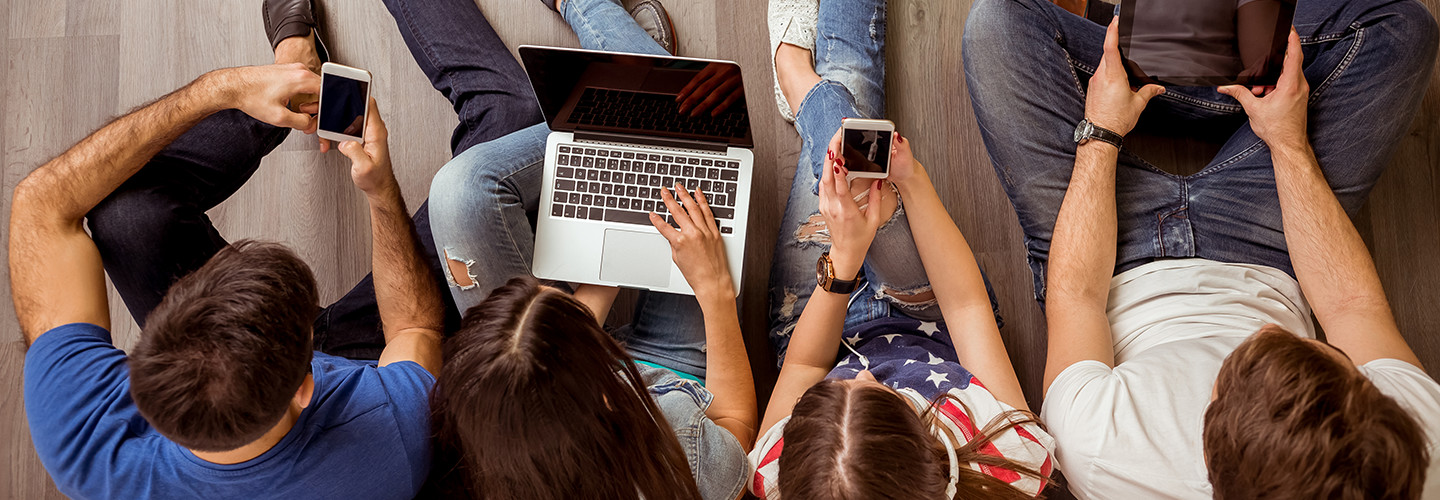 Students on Mobile technology