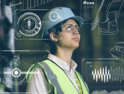 Woman engineer thinking of ideas