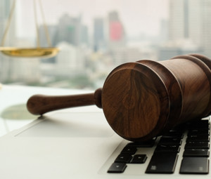 Gavel on a laptop