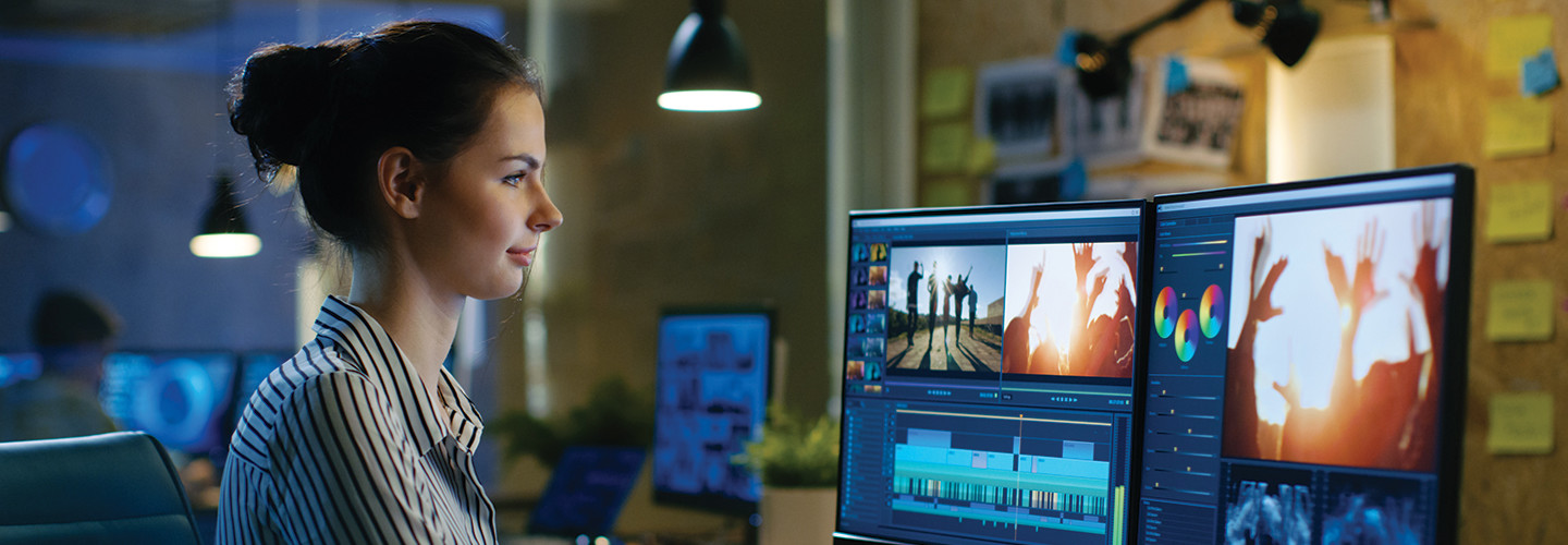 Student using video production software