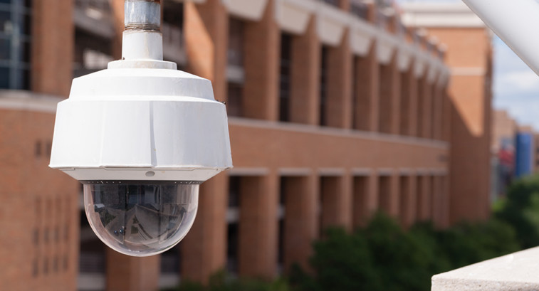 Security camera on campus