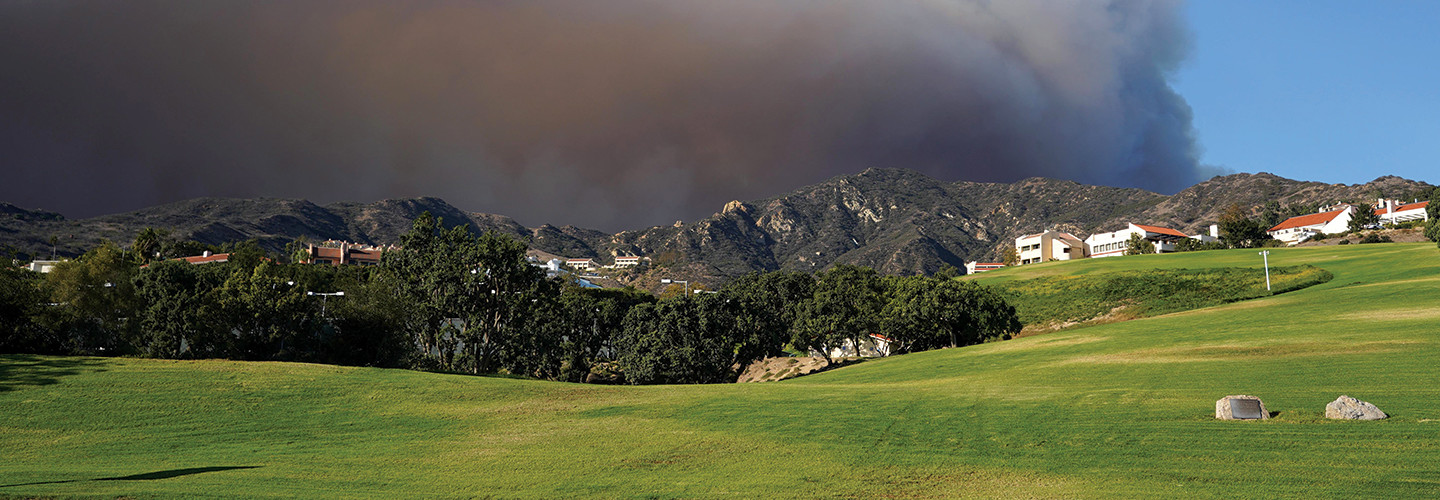 The Woolsey Fire rages in the hills behind Pepperdine University in California on Nov. 9, 2018.