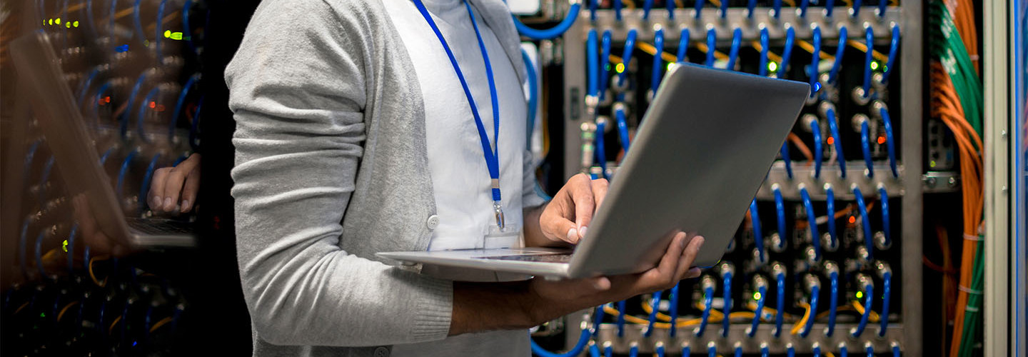 Student working in data center