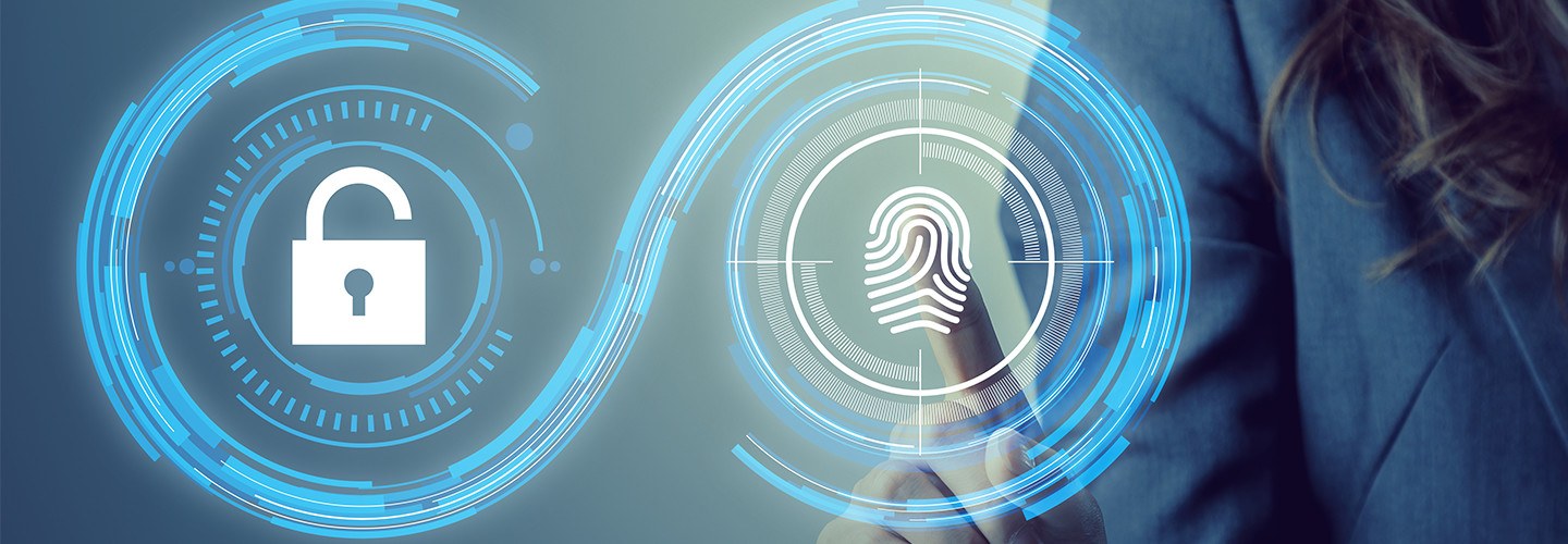 Lock and thumbprint cybersecurity