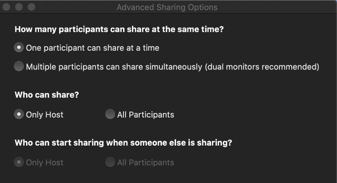 Zoom Advanced Sharing Options