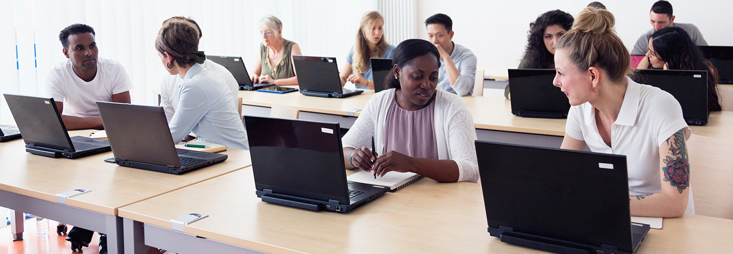Students in a modern computer lab