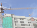 drone in front of construction
