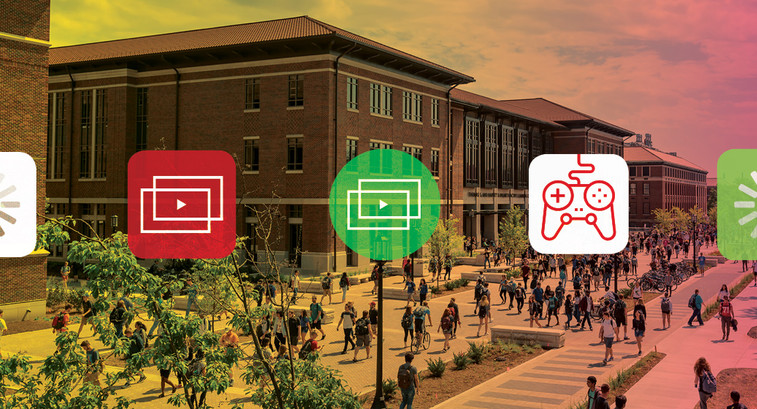 Media icons with university background.