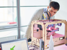 university students with 3D printer