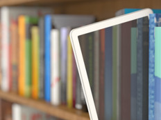tablet in library stacks