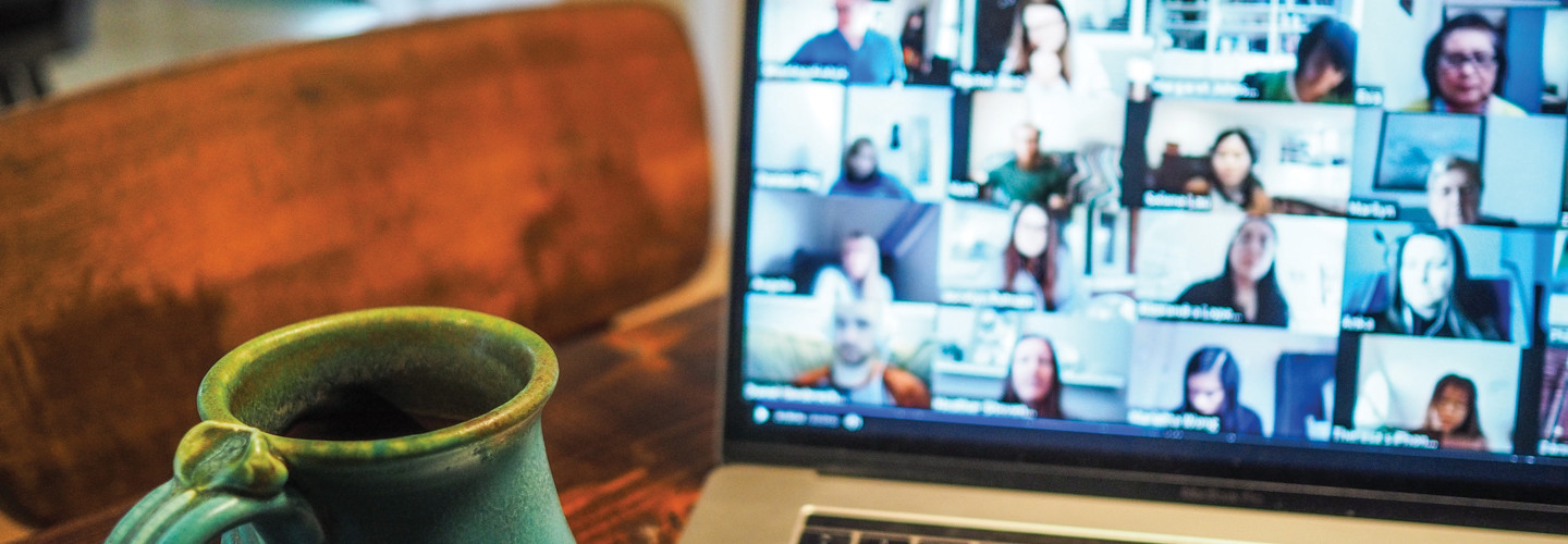 students on videoconferencing class - online learning options