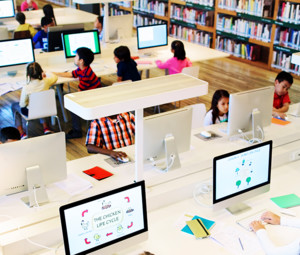 Kids in high tech library