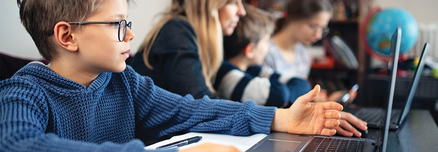 Student remote learning with computer