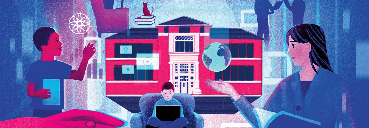 Blue and Red Illustration of Virtual School for K–12