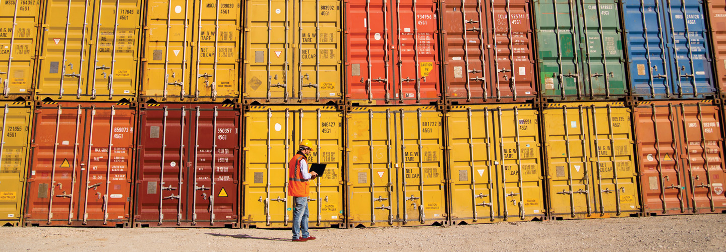 Supply Chain Disruptions - dock worker with laptop standing in front of cargo containers stacked two high