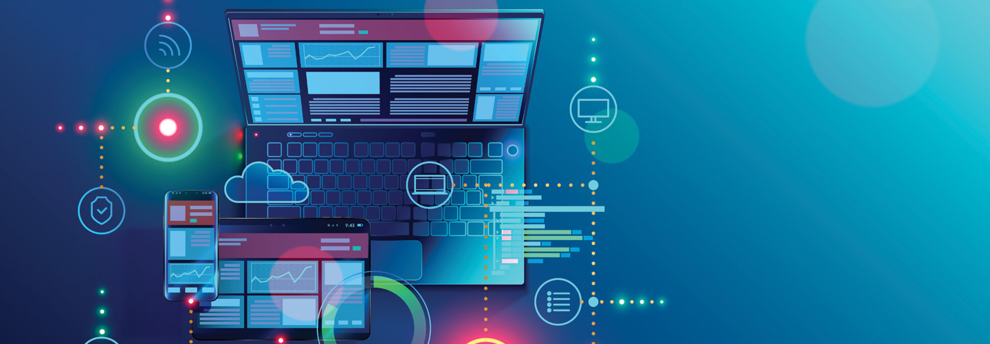Illustration of computer and tablet with glowing symbols cybersecurity