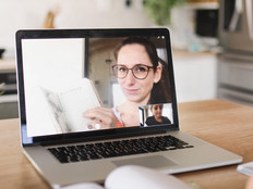 Woman teaching via video chat