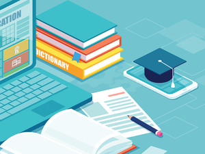 online education concept illustration of laptop on desk