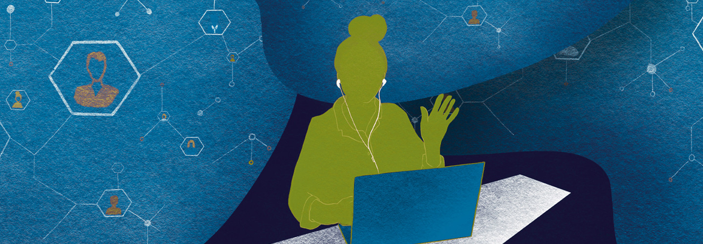 Illustration of student with laptop