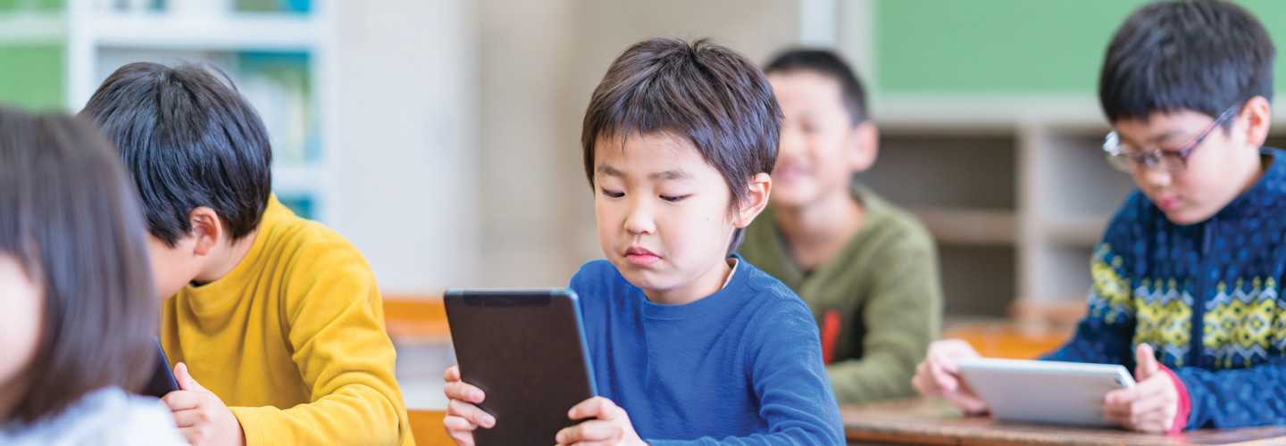 Student using technology in the classroom