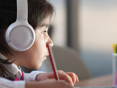 Girl learning in online school
