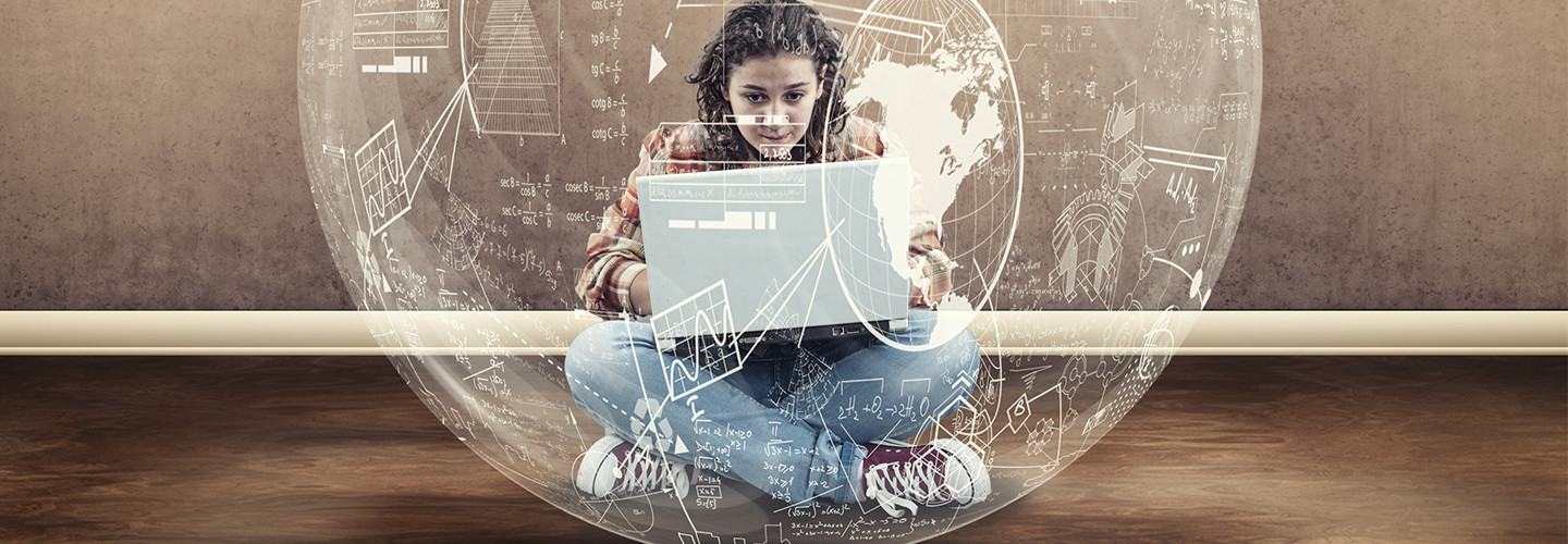 Girl with data around her