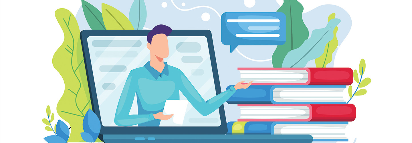 illustration of man teaching from laptop
