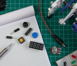 Makerspace table covered in things