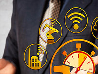 Man with digital stopwatch and Wi-Fi symbols around him