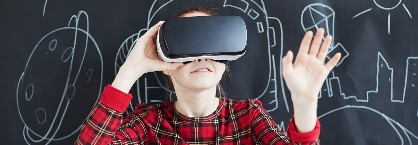 Female student with virtual reality headset