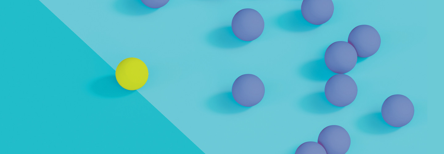 Yellow dot representing malware attempts to infiltrate periwinkle dots representing security