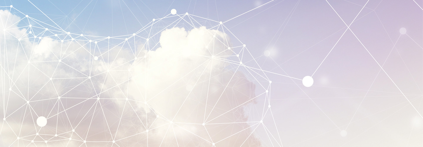 A cloud surrounded by digital lines signifying technology and internet