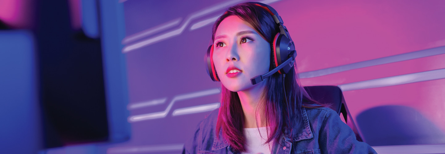 High school esports athlete engaged in an online game