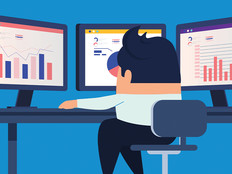 illustration of man sitting in front of computer screen analyzing data