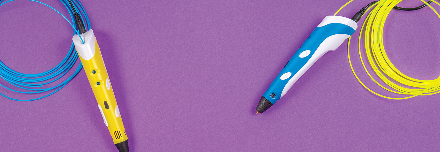 Markers on purple background