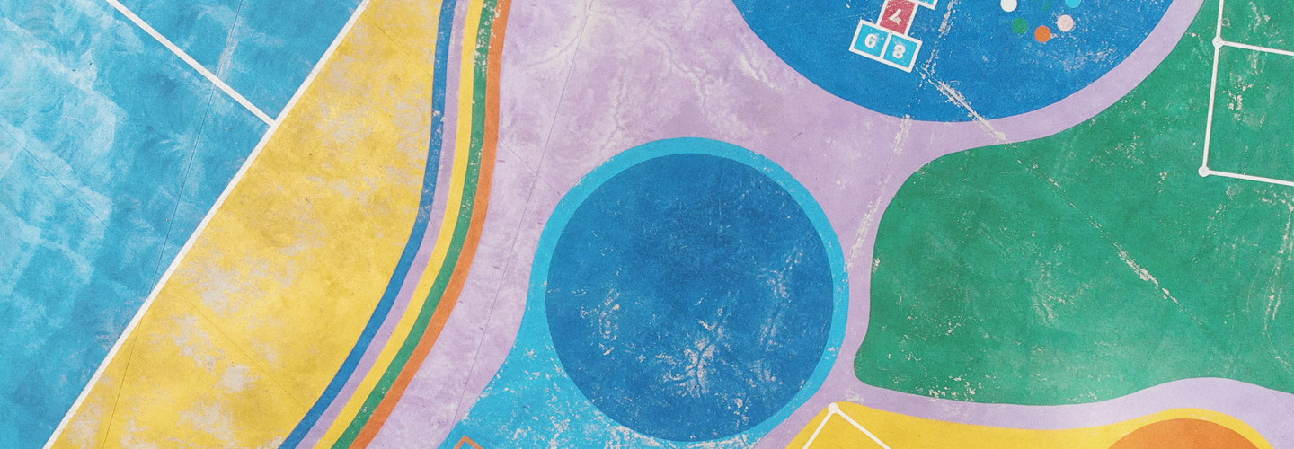 Colorful outdoor playground from above.