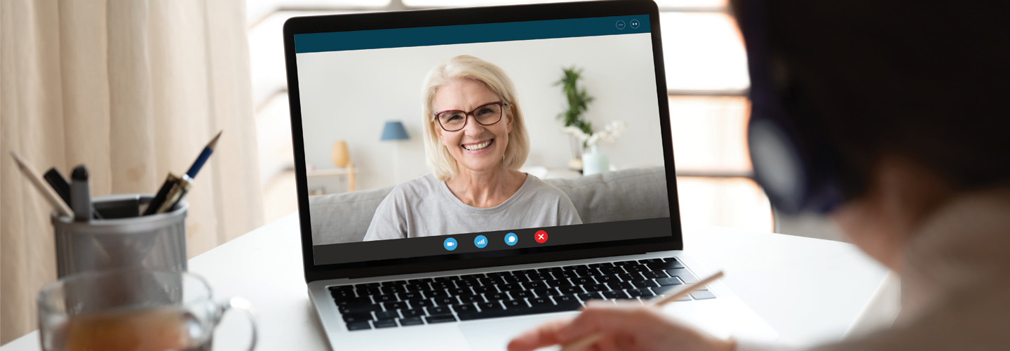 Woman smiling on video call