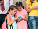 Little girls use personal devices