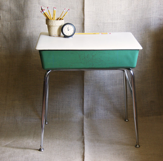 Antiques Responsible Old Wooden School Desk Wood And Metal