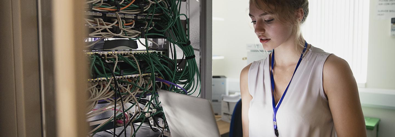 Girl at server