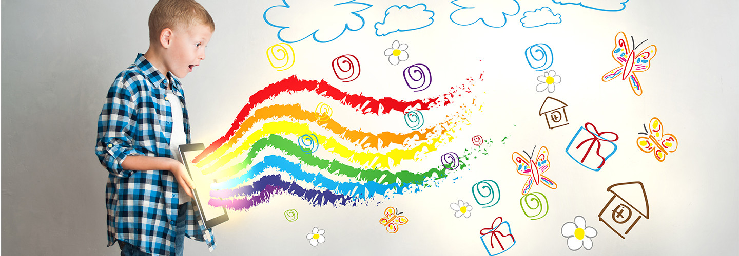 Kid uses ipad with rainbows coming out