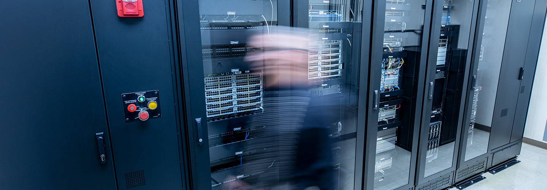 Person walking through data center