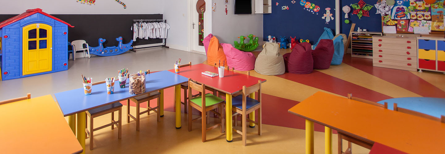 Interior of preschool kindergarten. Flexible learning classroom.