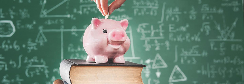 Piggy bank in school
