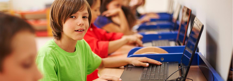 Kid on computer