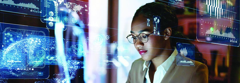 woman managing data