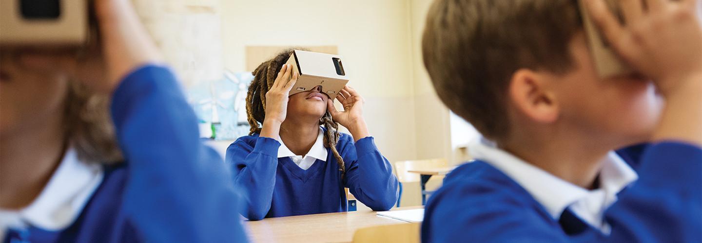 student using google cardboard vr