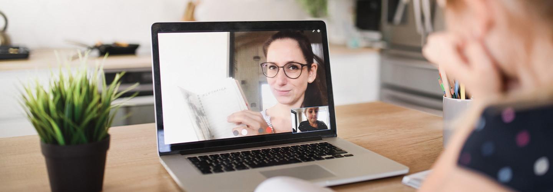 Woman teaching via video chat
