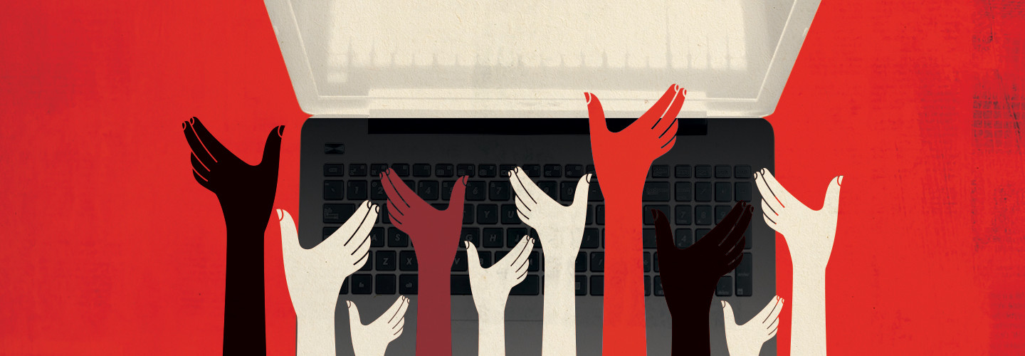 Illustration of hands holding up laptop